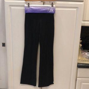 NWT PINK Victoria's Secret Black Yoga Pants